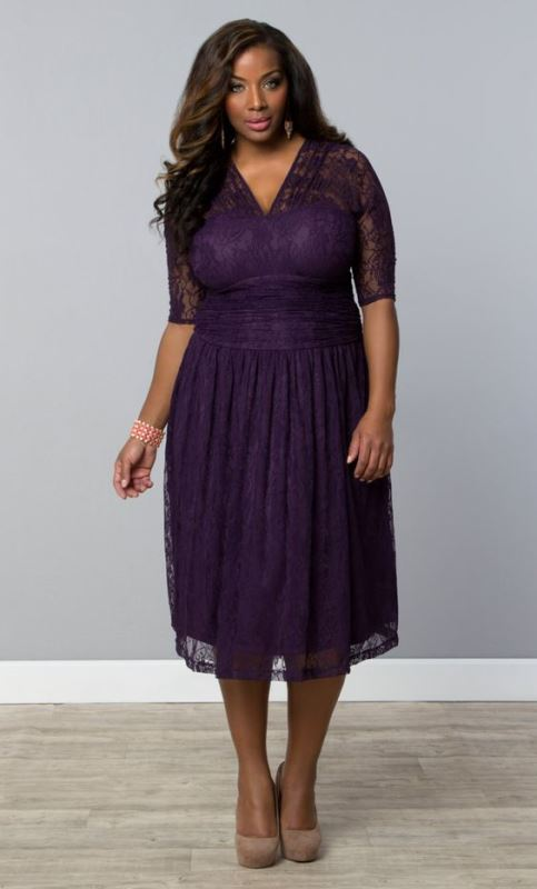 a purple lace midi dress with short sleeves, a V neckline and nude heels will always work