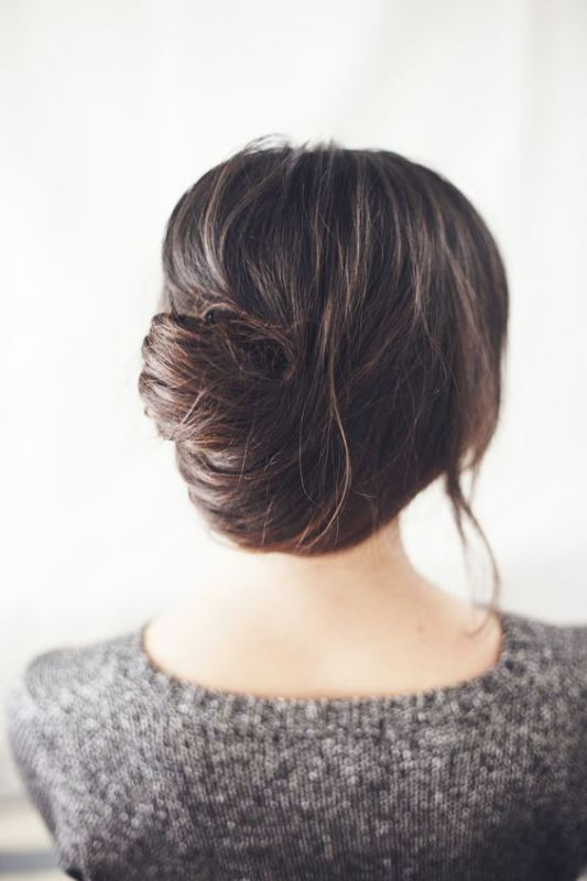 a messy and elegant French twist updo with a bit of volume on top and some locks down will fit an effortlessly chic look