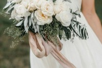 white peonies with eucalyptus and olive greenery plus blush ribbons for a chic and scented wedidng bouquet