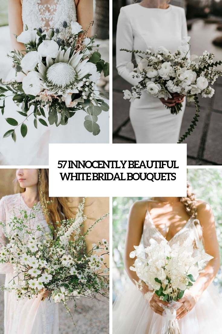 57 Innocently Beautiful White Bridal Bouquets