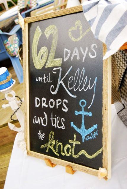 use a simple chalkboard sign in a frame to mark how many days are missing or some other information