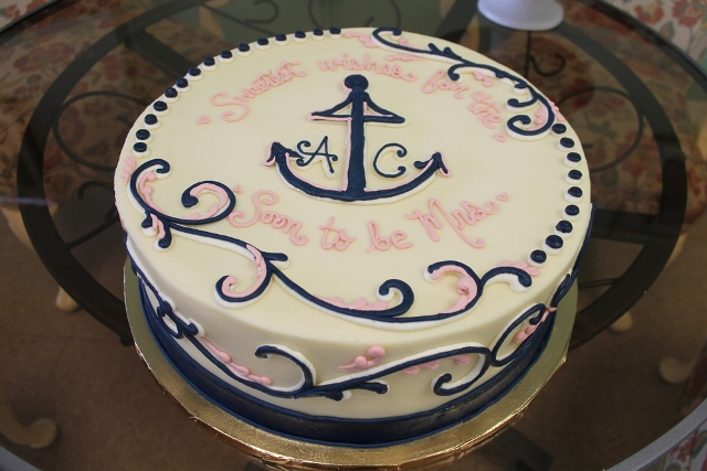 a sweet white, pink and navy cake for a bridal shower - add anchors and stripes to make it themed