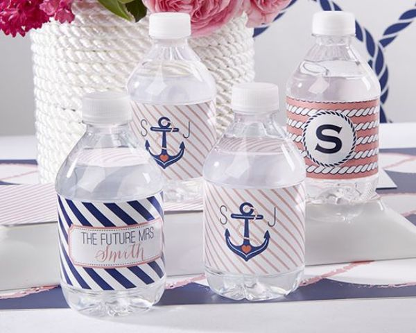offer your gals water bottles with themed tags for a nautical bridal shower
