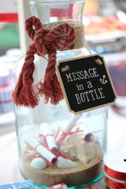 place a large bottle or carafe with sand and rope on it plus a tag to let your gals leave ideas and wishes for your wedding or dates