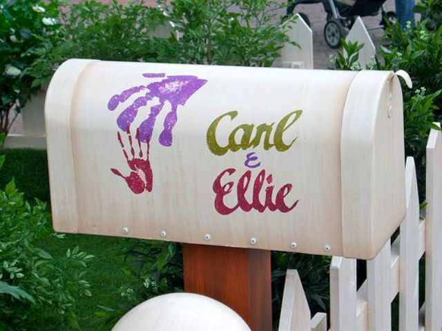 a white mailbox with colorful names and your palm prints is a very cute and fun idea