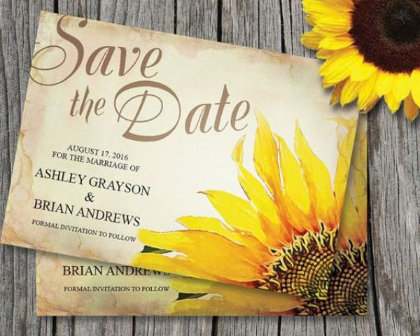 simple rustic save the dates with sunflower printing are a cool idea for a summer or fall wedding