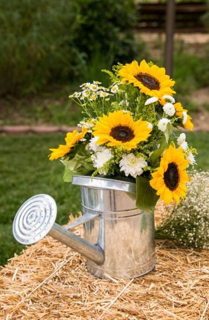 a water can with greenery with sunflowers is a cool idea  to decorate your summer or fall wedding