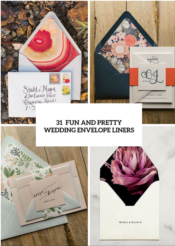 31 Fun And Pretty Wedding Envelope Liners