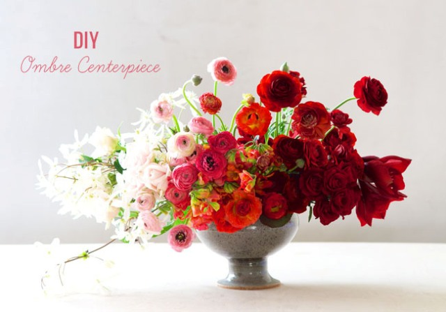 Chic DIY Ombre Floral Wedding Centerpiece