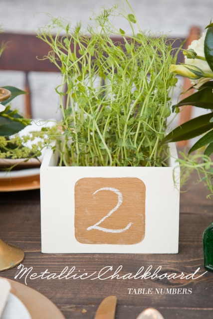 Cool DIY Metallic Chalkboard Table Number