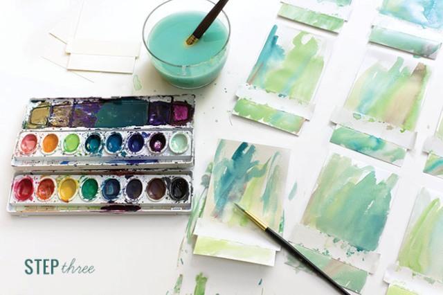 Original DIY Watercolor Wash Place Cards