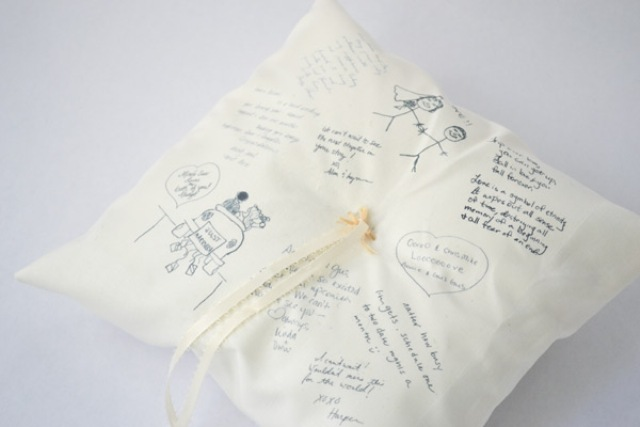Picture Of Touching DIY Guestbook Ring Pillow 5
