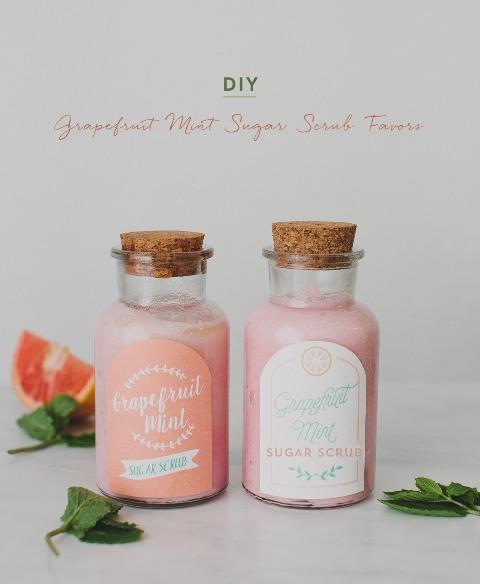 Useful DIY Grapefruit Mint Sugar Scrub Favors