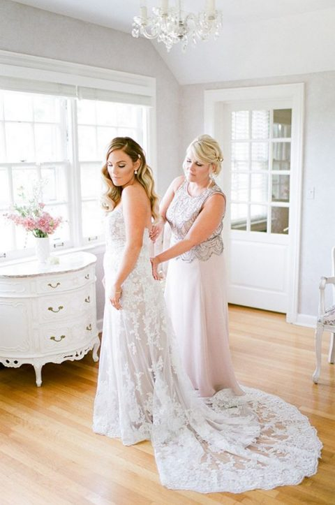 a maxi blush A-line gown with a grey embellished lace bodice is a gorgeous idea for a modern mother of the bride