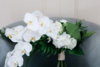 an all-white tropical wedding bouquet