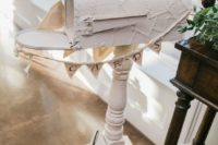 a pretty white mailbox with paper decoupage, a bunting is ideal for a shabby chic or vintage wedding