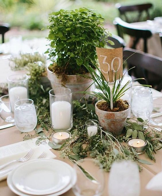 a wedding centerpiece of greenery, potted plants, candles is a stylish and budget friendly idea, which is also sustainable