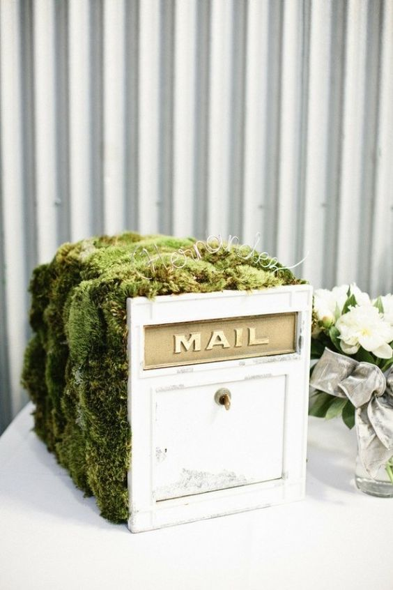 a wooden mailbox with moss on top, with a name with wire for a woodland wedding - use it for anything you want