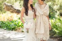 an ivory lace sheath knee dress with short sleeves, a matching coverup and nude shoes for pure elegance