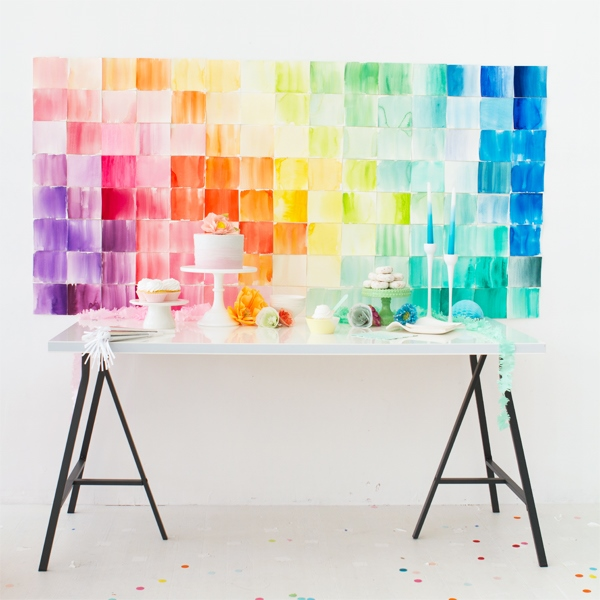 Cheerful DIY Watercolor Paper Squares Wedding Backdrop