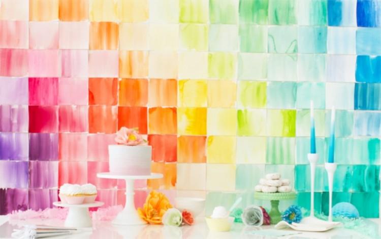 Cheerful DIY Watercolor Paper Squares Wedding Backdrop
