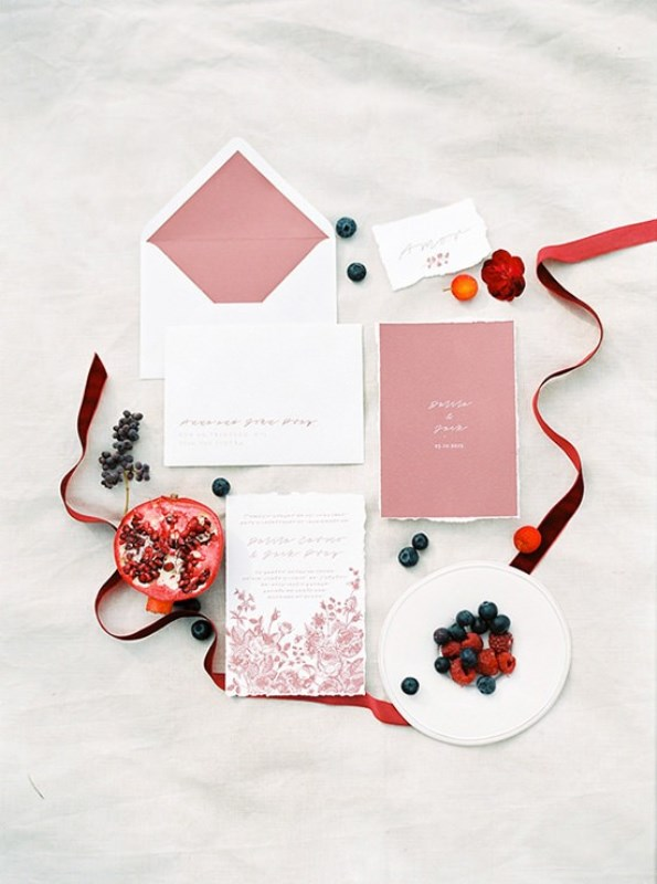 Picture Of creative and romantic berry toned wedding inspiration  13