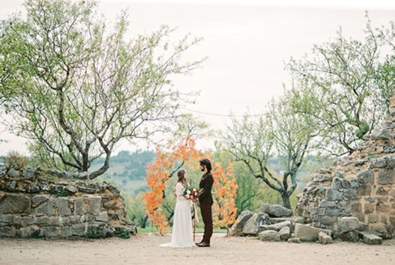 Picture Of creative and romantic berry toned wedding inspiration  2