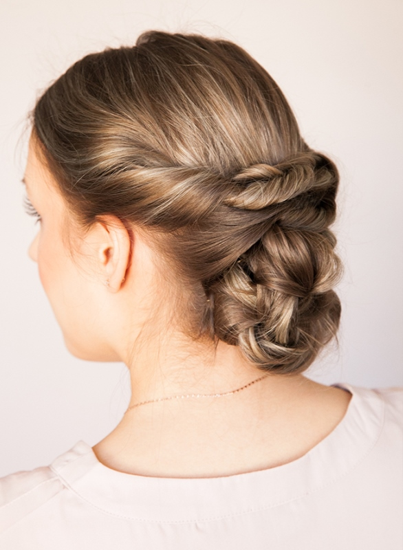 Picture Of easy diy rustic chic low braided updo  1