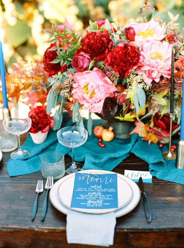 Fall Jewel Toned Rustic Ranch Wedding Inspiration