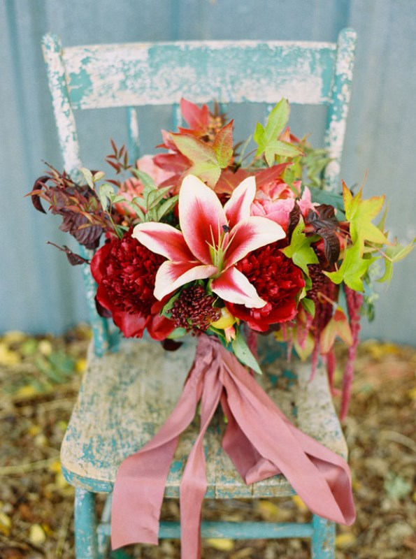 Picture Of fall jewel toned rustic ranch wedding inspiration  18