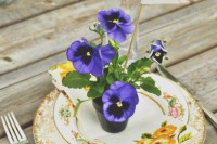 bright potted flowers as wedding favors are a nice sustainable idea for a summer wedding