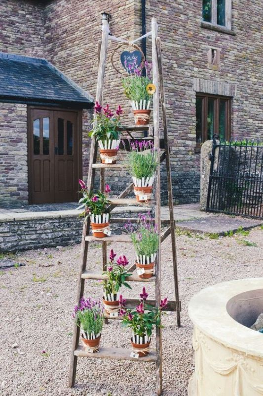 a ladder with potted flowers is a cool idea to decorate the venue or to make it bold and bright
