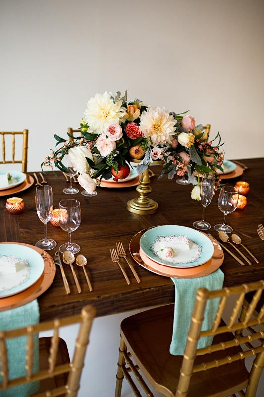 Mint And Rose Gold Wedding Shoot With Three Eclectic Table Designs