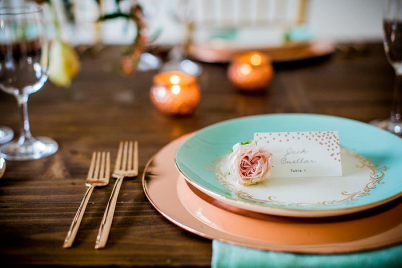 Picture Of mint rose gold wedding shoot three eclectic table designs  11