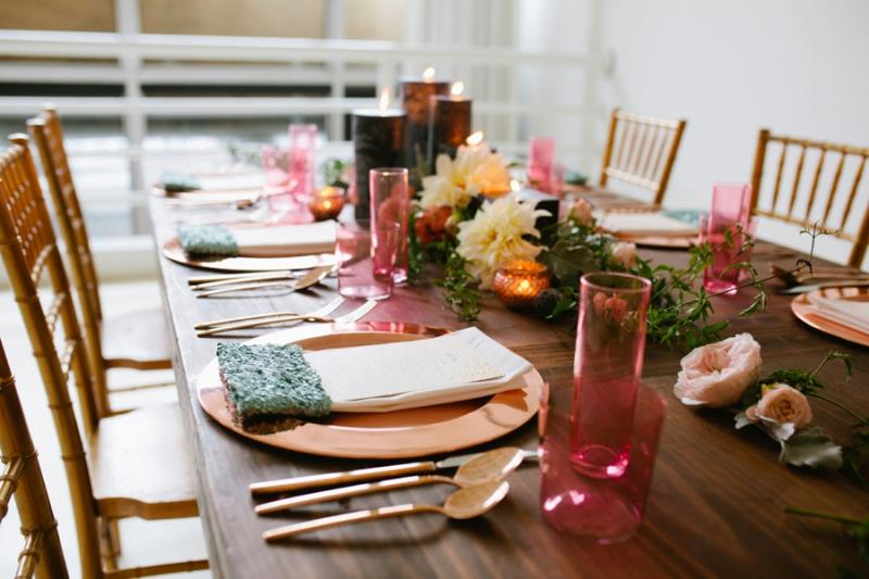 Picture Of mint rose gold wedding shoot three eclectic table designs  18