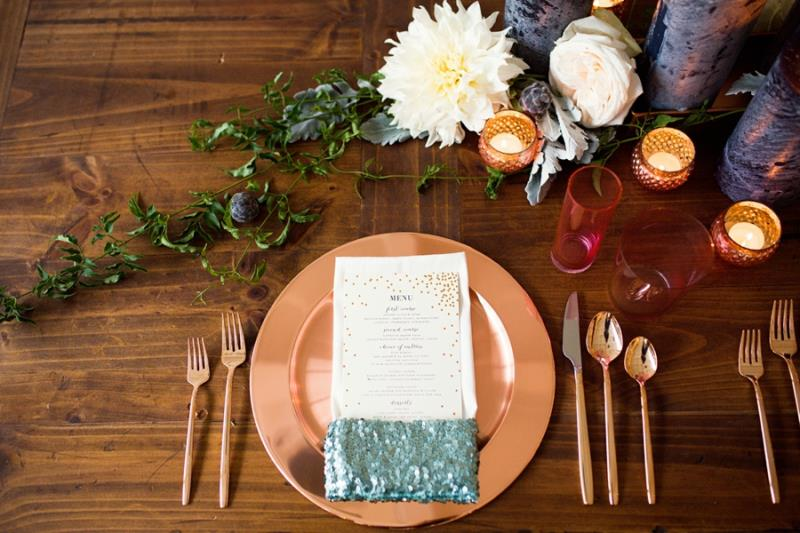 Picture Of mint rose gold wedding shoot three eclectic table designs  20