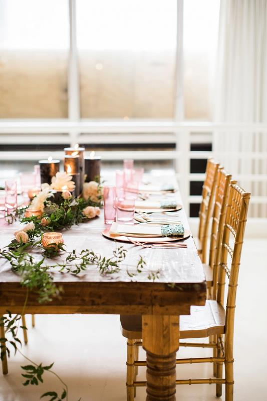 Picture Of mint rose gold wedding shoot three eclectic table designs  21