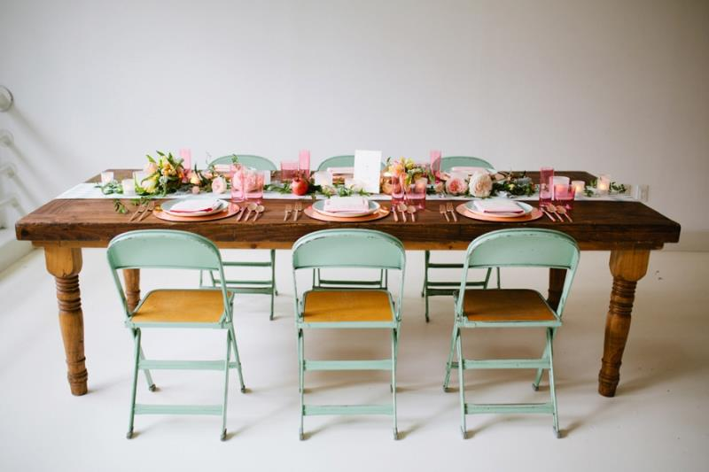Picture Of mint rose gold wedding shoot three eclectic table designs  25