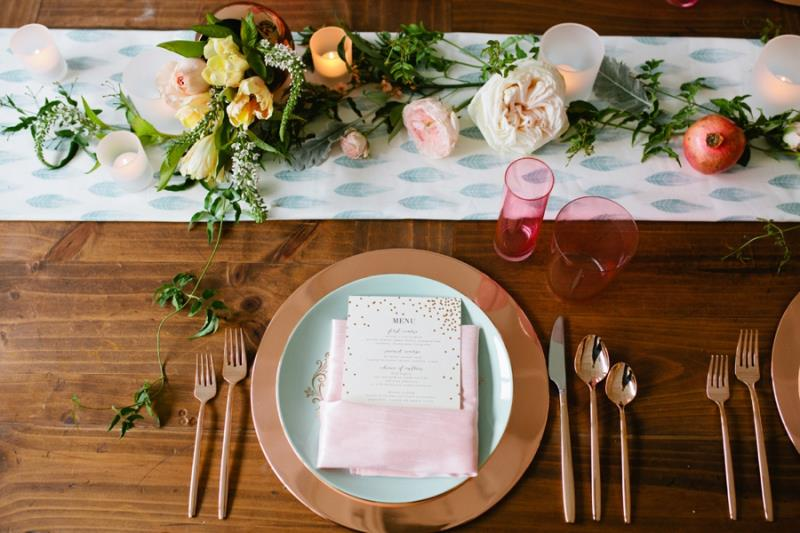 Picture Of mint rose gold wedding shoot three eclectic table designs  26