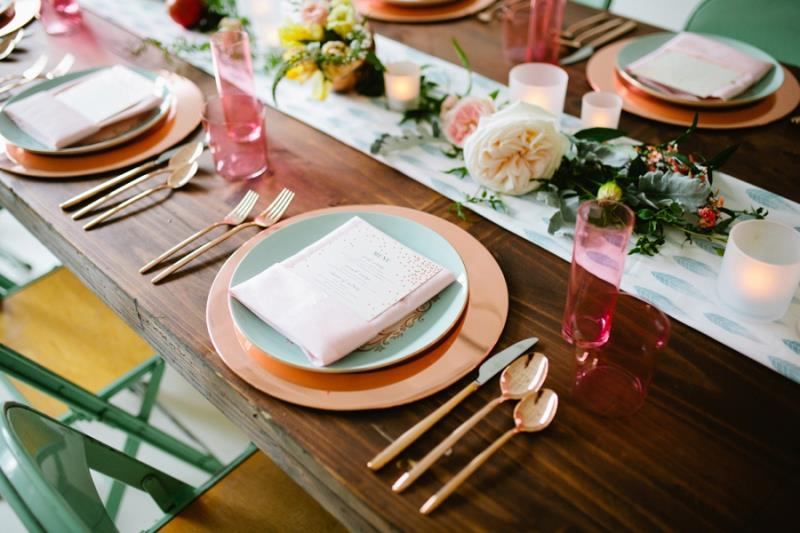 Picture Of mint rose gold wedding shoot three eclectic table designs  28