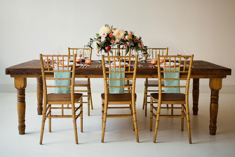 Picture Of mint rose gold wedding shoot three eclectic table designs  9