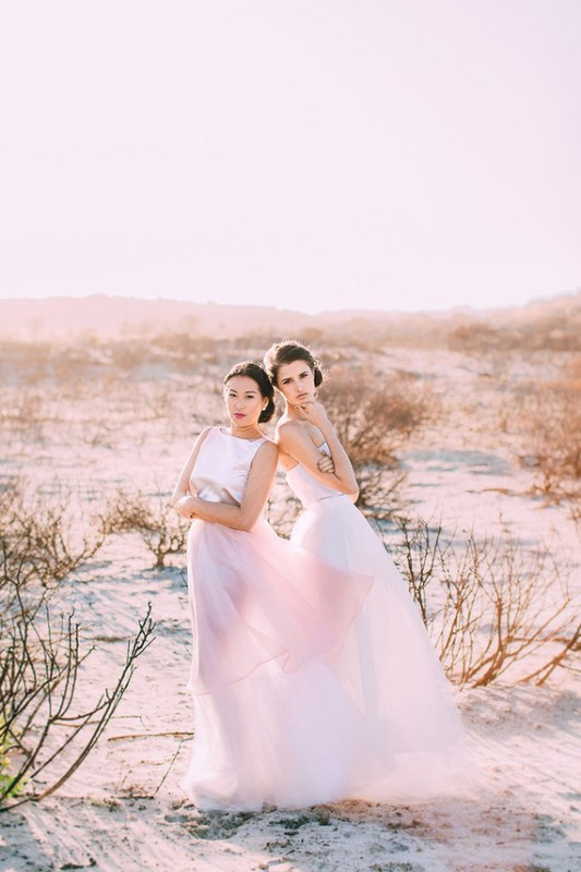 Modern Watercolor Rose Quartz And Serenity Wedding Shoot