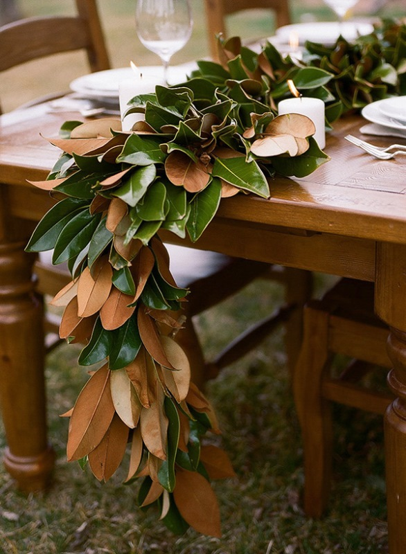 Picture Of Organic Inspired Diy Magnolia Leaf Table Runner 2