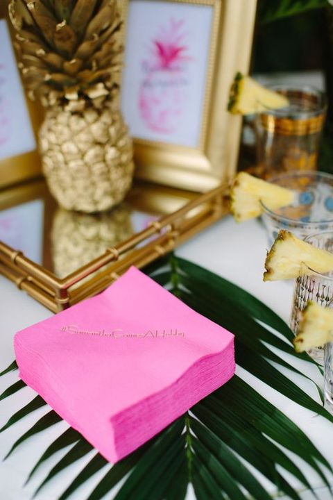 pink napkins with gold calligraphy to personalize them a little bit