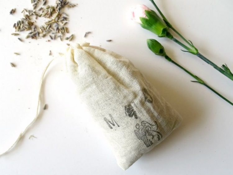 Rustic DIY Stamped Lavender Sachet Wedding Favors