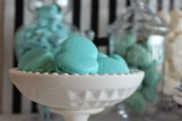 tiffany blue macarons are a nice themed dessert for your bridal shower