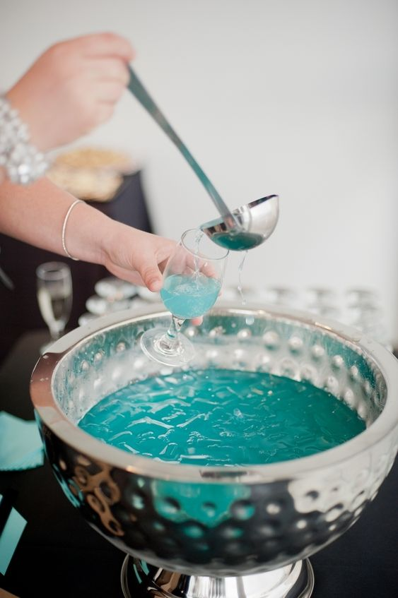 tiffany blue punch is a cool idea for a breakfast at Tiffany's bridal shower