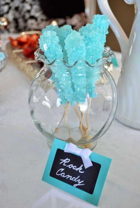 tiffany blue sugar rock candies are yummy desserts that can be easily DIYed for your shower