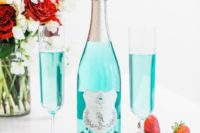 tiffany blue wine and strawberries is a cool idea for a breakfast at Tiffany's bridal shower