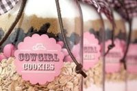 cowgirl cookies mix in jars is a nice idea for a cowgirl bridal shower favor